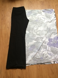 Laying out a pair of pants, folded in half on a fold of a fold. ^_^'